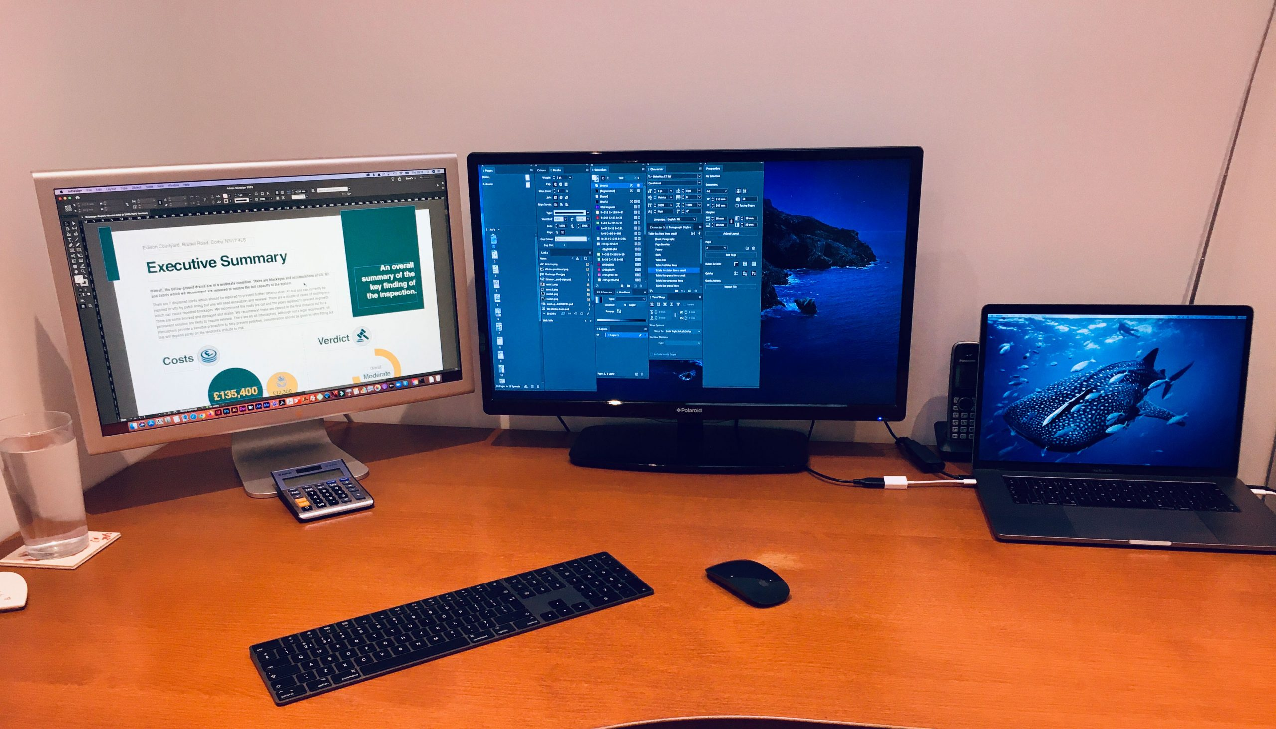 Office Desk with Graphic Design on screen